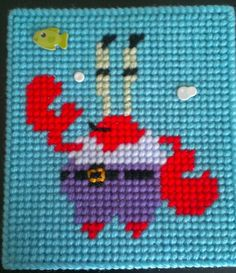 Spongebob plastic canvas tissue box cover - Mr. Krabs side (Embellished) by sanzosgal