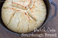 Easy Sourdough Bread Recipe - No kneading and baked in a a dutch oven!