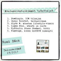 Roni Bäck vinkkaa mielenkiintoisista tubettajista.