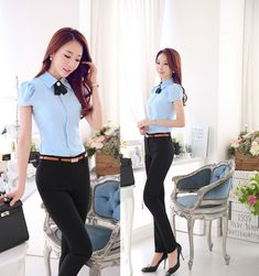 Plus tamaño 4XL novedad azul diseño de uniforme de mujer trajes de trabajo trajes blusa y pantalones para mujer de la oficina pantalones que arropan el sistema(China (Mainland)) Summer Outfits Women 30s, Summer Outfit For Teen Girls, Outfits For Teens, Fall Outfits, Office Uniform For Women, Blouses For Women, Pants For Women, Pantsuits For Women, Office Outfits