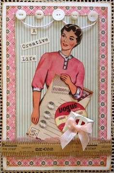 a card I made using wonderful products from Vintage Street Market--including that fabulous vintage pin strip!