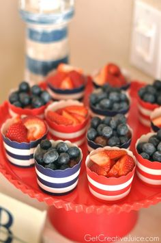 Fruit Cups for a Nautical Party  #kidsparty #birthdayparty #boyspartyideas