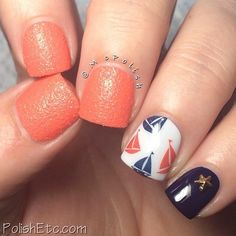 ⛵️Sail Nails!!⛵️ Manicure by @mcpolish. Amy used the sail boats from our Prepster Decal set for her accent nail! Link to shop in our profile. Hope those of you celebrating have an amazing long weekend! #nailmail #nailart #nailswag #nailedkit #naildecals #notd #instanails #manigram #nailart2inspire #easynailart #nailartclub #nailsofinstragram #nauticalnails