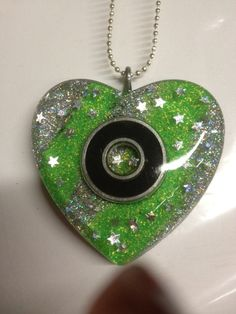 Neon Green and Silver Glitter Roller Derby Bearing Necklace