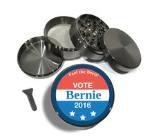 """Vote Bernie Sanders 2016 4 Piece Silver Metal or Zinc Titanium Herb Grinder 2.5"""" Feel the Bern President Button Primary Hat Shirt Rally by Swagstr on Etsy"""