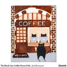 The Black Cats Coffee House Folk Art Photo Print