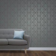 Fine Decor Apex Trellis Wallpaper in blue and slate Fd41996