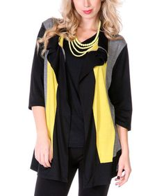 This Black & Yellow Color Block Open Cardigan by Aster is perfect! #zulilyfinds