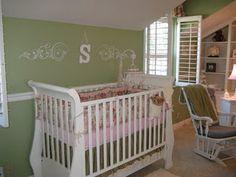 Girl's nursery - like the green with pinks
