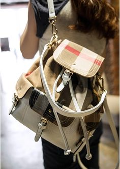 24.38$  Watch here - http://alibst.shopchina.info/go.php?t=1987771131 - 2014 New Arrival Women Fashion Plaid Travel Backpacks Decoration With Belt White Leather backpacks Beige Free Shipping 24.38$ #buyonlinewebsite