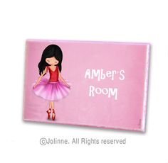 Dancing Ballerina door hanger for girls room , personalized kids door sign room nursery decor. $19.00, via Etsy.
