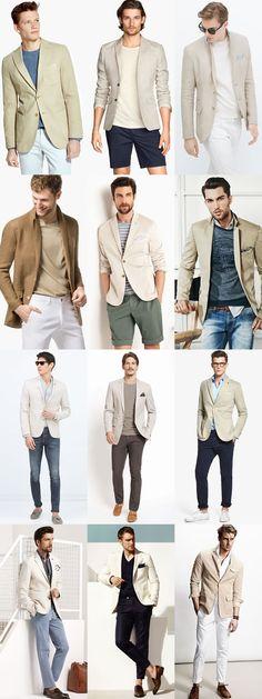 Men's Neutral Unstructured Blazers Outfit Inspiration Lookbook #men # style #blazer