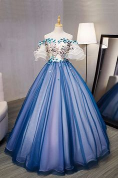 New design blue tulle swetheart long prom gown, short sleeves 3D flower long evening dress