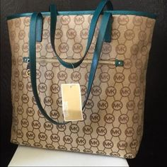 Michael Kors Montauk Teal Tote Tan and Teal Michael Kors Tote with MK signature all over w/ Gold Accents -- Brand New -- Water Resistant -- Durable -- Spacious -- Reasonable Offers Please  MICHAEL Michael Kors Bags Totes