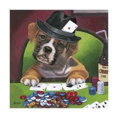 Trademark Art 'Poker Dogs by Jenny Newland Graphic Art on Wrapped Canvas Size: 14 Jouer Au Poker, Dogs Playing Poker, Wall Art Prints, Canvas Prints, Creation Photo, Before Midnight, Arte Pop, Cross Paintings, Cartoon Dog