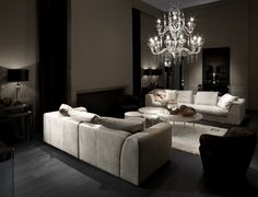 A chandelier can totally make a room. Case in point. {Murano glass :: Fendi Casa}