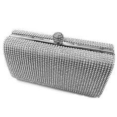 13f99ebee1 Silver Clutch Evening Bag Shimmering Silver Diamante Encrusted Evening bag  Clutch Purse Party Bridal Prom. Small Crossbody ...