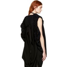Love this by ANN DEMEULEMEESTER Black Draped Open Back Blouse - $0