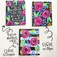 Floral journaling bible. Hand painted bible. Painted bible cover. Bible Verse Wall Art, Scripture Art, Bible Art, Painted Books, Hand Painted, Bible Covers, Journal Covers, Monogram Letters, Hand Lettering