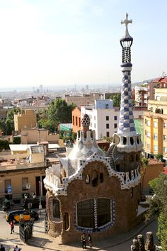 """Park Guell...Barcelona, Spain.  The most amazing """"thing"""" ever to see.  Antoni Gaudi captured water on the highest hill in all of Barcelona.....he used broken dishes & cement as troughs....then built cisterns to store the water for drinking purposes.......and this was in the late 1800's...he was a genius!"""