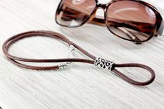 Leather Jewelry, Leather Cord, Black Leather, Pearl Design, Eyeglass Holder, Necklace Holder, Womens Glasses, Eyeglasses, Keychains