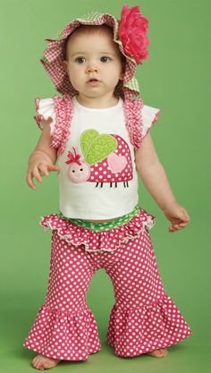 This 2 piece set includes a cotton top with an oversized dimensional ladybug applique, gingham shoulder ruffles and ruffle sleeve. The cotton/spandex blend pants feature a fold over ruffled waistband and flared legs to complete the perfect summer look! Available in 0-6, 9-12, 12-18 and 2T/3T. Part of Mud Pie's Lil' Chick Collection. Summer heats up with our Lil' Chick collection! We start with season's favorites gingham and grosgrain and add our signature sass to create swimwear accessories…