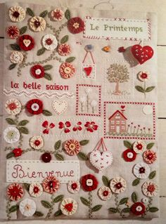 Embroidery Designs, Hand Embroidery Patterns, Embroidery Applique, Cross Stitch Embroidery, Wool Quilts, Applique Quilts, Marie Suarez, Stitch Book, Miniature Quilts
