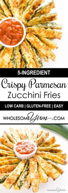 Zucchini Fries Recipe (Low Carb Parmesan Baked Zucchini Fries) - These gluten-free, low carb baked zucchini fries have a crispy Parmesan coating. They're healthy and so easy to make. Only 5 ingredients!