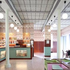 view of the candy shop at wes anderson's milanese cafe bar luce @fondazioneprada . . . . . #barluce #fondazioneprada #wesanderson