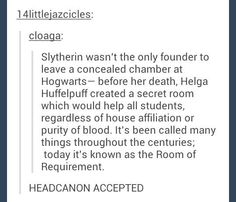 I totally accept this. I mean, it became the place where the DA trained, and later it became a place to house students when it wasn't safe to be in their dormitories anymore. It wasn't discriminatory, a place that Helga Hufflepuff most likely created.