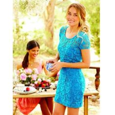 Sz 0 Lauren Conrad Semi Sheer Dress Blue  Sz 0⭐️ LC Lauren Conrad ⭐️Dress Semi Sheer Short Sleeve in Blue⭐️  ⭐️Ö̤F̤̈F̤̈Ë̤R̤̈S̤̈ Ẅ̤Ë̤L̤̈C̤̈Ö̤M̤̈Ë̤ LC Lauren Conrad Dresses Midi