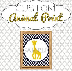 Animal Print Nursery Art - Custom Design! Pick your own colors and animal. Great for kids' rooms or a nursery.