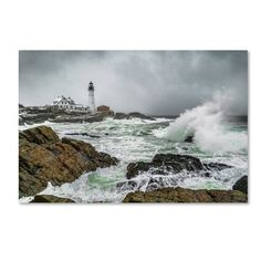 "Trademark Art Ocean Storm At Portland Head' Graphic Art on Wrapped Canvas Size: 30"" H x 47"" W"