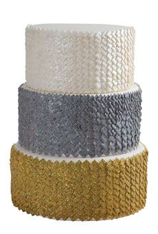 White, grey, and gold sequin cake by Sweet Element #weddings