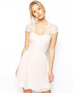 ASOS sukienka rozkloszowana koronka szyfon 36 S