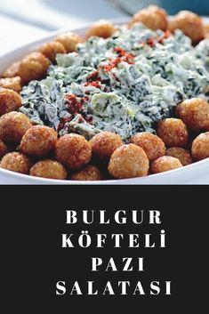 Bulgur Köfteli Pazı Salatası Salsa, Cereal, Beans, Vegetables, Breakfast, Food, Bulgur, Morning Coffee, Vegetable Recipes