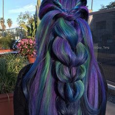 20 Blue and Purple Hair Ideas Dark Blue Hair With Green And Purple Highlights Peacock Hair Color, Hair Color Blue, Cool Hair Color, Hair Colors, Blue Wig, Purple And Green Hair, Dark Blue Hair, Pelo Multicolor, Opal Hair