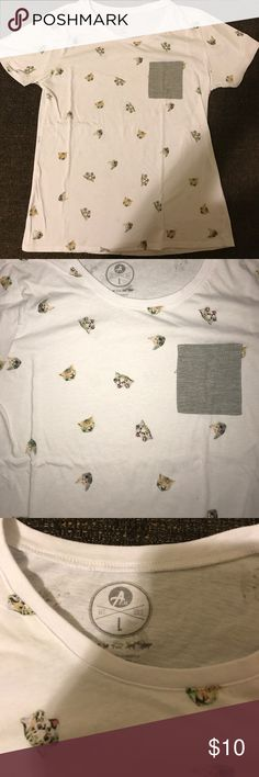 Cat pocket T-shirt! Such a fun shirt. White shirt/gray pocket with little cats all over it. It's purr-fect ;) thin material..it's a large but I would say it's on the smaller side. Tops Tees - Short Sleeve