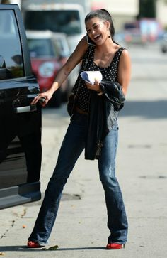 Jeans and heels! Couldn't get cuter!