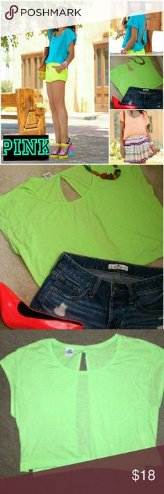 PINK VICTORIA SECRET NEON CROP TEE OVERSIZED EUC 💚PINK VICTORIA'S SECRET NEON GREEN CROP TEE 💚OVERSIZED STYLE 💚60 % COTTON 💚40% POLYESTER 💚SP 💚EXCELLENT USED CONDITION   💚GREAT FOR A STRIKING COLOR BLOCK OUTFIT 💚VERY VERSATILE, CAN BE DRESSED UP OR DOWN 💚LIGHT AND COMFY  💚GREAT FOR SPRING/ SUMMER DAYS   💗YOU WILL LOVE THIS PINK💗 PINK Victoria's Secret Tops Crop Tops
