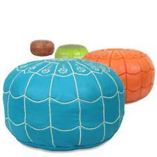 STUFFED Arch designed Moroccan leather Pouf, Ottoman, Poof, Pouffe