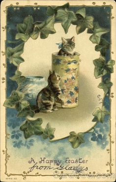 Divided Back Postcard A Happy Easter Cats Vintage Greeting Cards, Vintage Postcards, Vintage Images, Easter Cats, Happy Easter, Vintage Cat, Vintage Easter, Image Chat, Cat Cards
