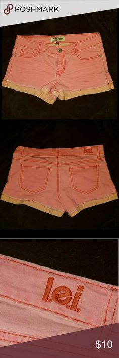 🍑Peach Lowrise Shorts🍑 These are PERFECT for the summer time!🌝🌼 Simple but super cute. The color is so pretty and bright. My camera doesn't do it justice! It's like a bright, peachy/ flamingo type color. I've only worn these a few times. I'm sure someone could enjoy them all summer :) lei Shorts Jean Shorts