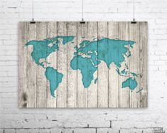 Rustic World Map Poster, Large Map of the World, Turquoise Map on Wood Look Print, Dorm Room Decor, Travel Decor, Nursery Decor, Wood Art