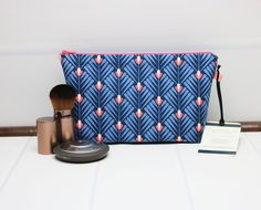 Floral Makeup Pouch - Small Makeup Bag - Blue Cosmetic Bag - Floral Zipper Pouch - Small Toilet Bag - Travel Makeup Bag - Fabric Zipper Bag by TalfourdJones on Etsy