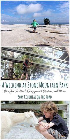 Family weekend trip to Stone Mountain Park near Atlanta. Pumpkin festvial, skyride, skywalk, antebellum plantation, and campground review