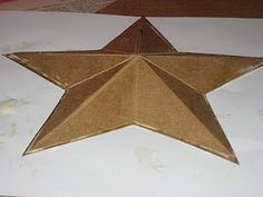 Here are the instructions I promised you all for making a dimensional five-pointed star. I made a cardboard base that was then covere. Americana Crafts, Primitive Crafts, Primitive Stars, Country Crafts, Cute Crafts, Diy Crafts, Decor Crafts, Book Crafts, Arts And Crafts