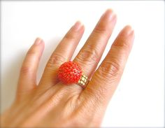 May Sale 20 Off - Twiggy Coral and Gold Delicate Beaded Ring - Plus FREE SHIPPING $22.00