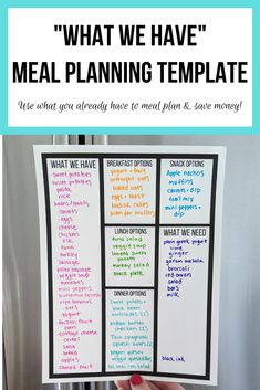Meal Planning Board, Monthly Meal Planning, Meal Planner, Happy Planner, Meal Prep Plans, Breakfast Options, Food Waste, Planner Pages, Freezer Meals