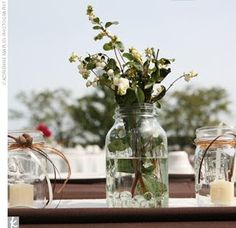 flowers jars candles